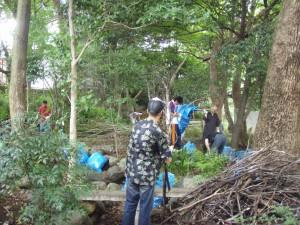 堆積していたのは、落ち葉だけでなく木々の枝も大量にあり、それらも全て手作業で除去する作業が進められました。
