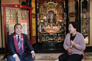 東組会長の東山敏氏にお講についてお話しを聞きました