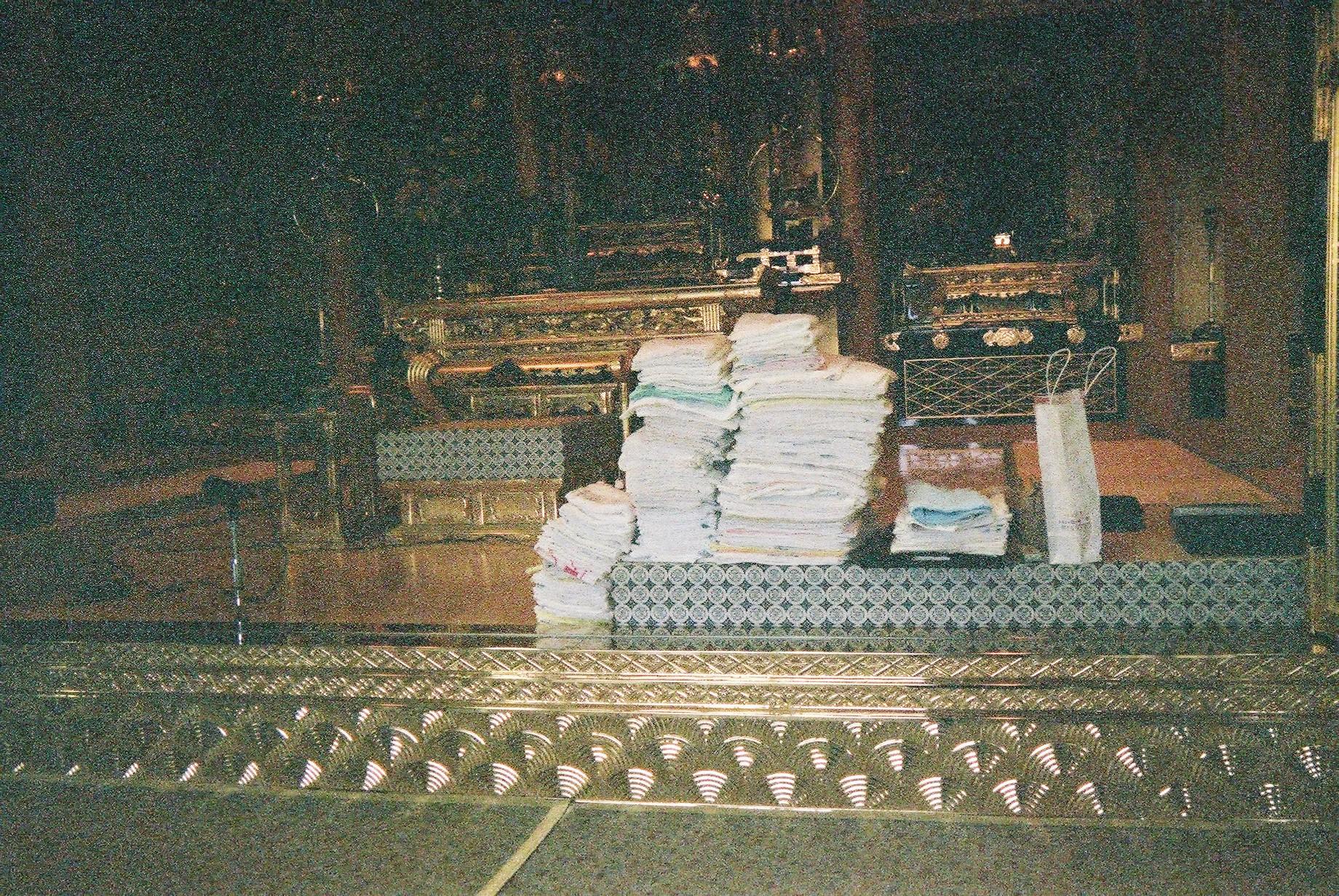縫い上げられた250枚以上の雑巾