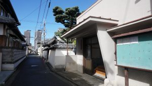 西願寺会館(手前)、西願寺と立ち並ぶ。五葉松が歴史を感じさせる